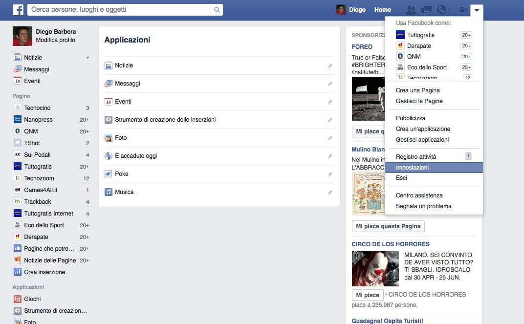Impostazioni di Facebook accesso