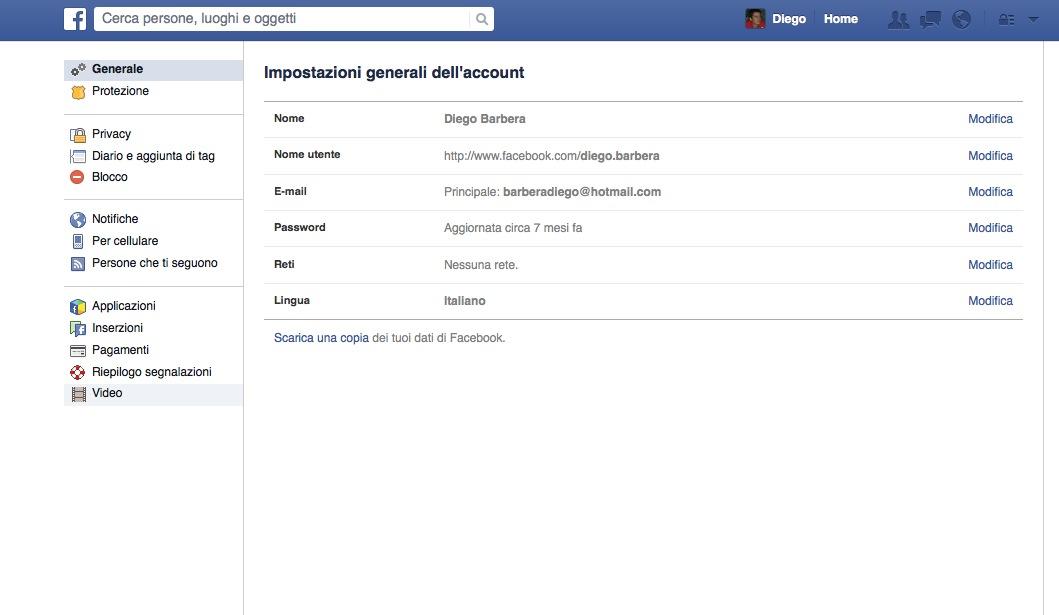 Impostazioni video di Facebook