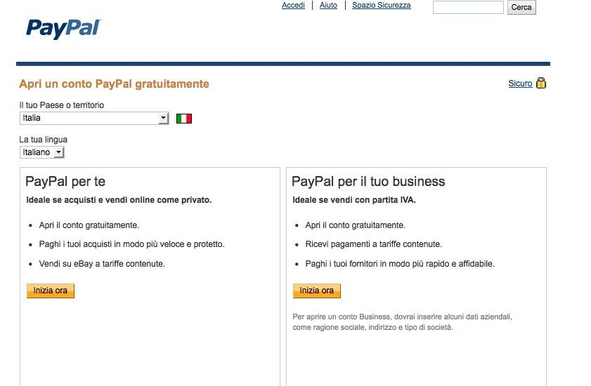 Iscriversi a PayPal