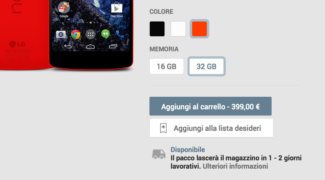 Nexus 5 disponibilita