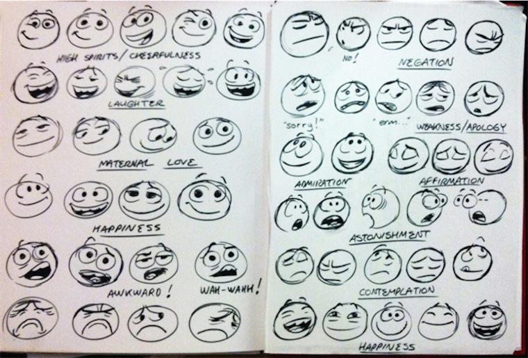 Tutte le emoticon di facebook disegno a mano