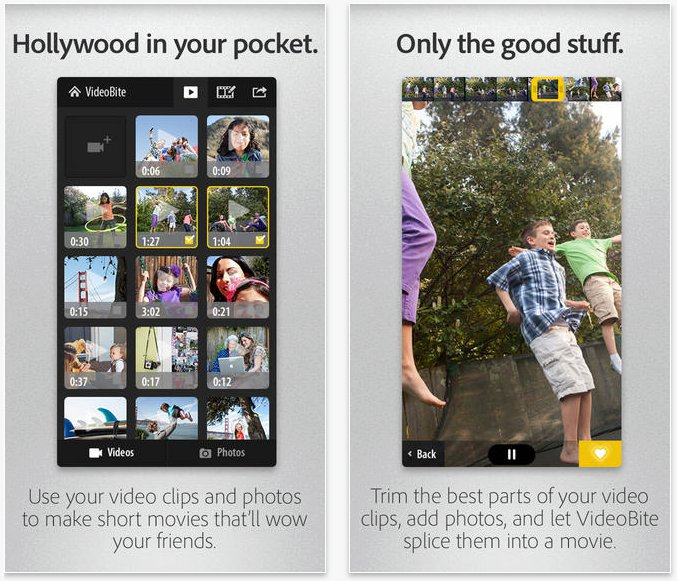 Videobite Adobe per unire video con iPhone