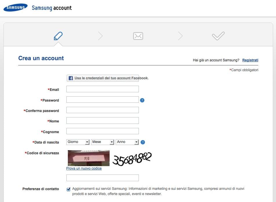 creare account samsung