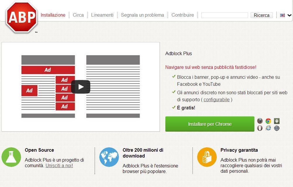 Adblock, schermate homepage
