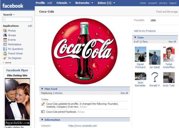Annunci Facebook con Coca Cola
