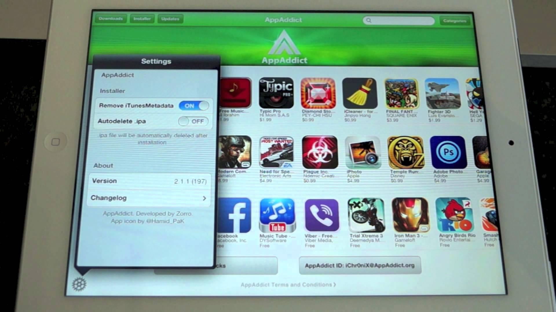 AppAddict il software alternativo a Installous schermata impostazioni iTunesMetadata