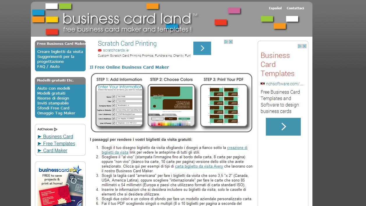 Business Card Land il sito dedicato alla creazione di biglietti da visita gratis