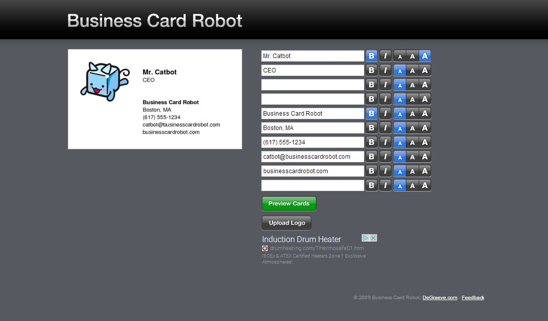 Business Card Root il sito per creare grais biglietti da visita di stile classico