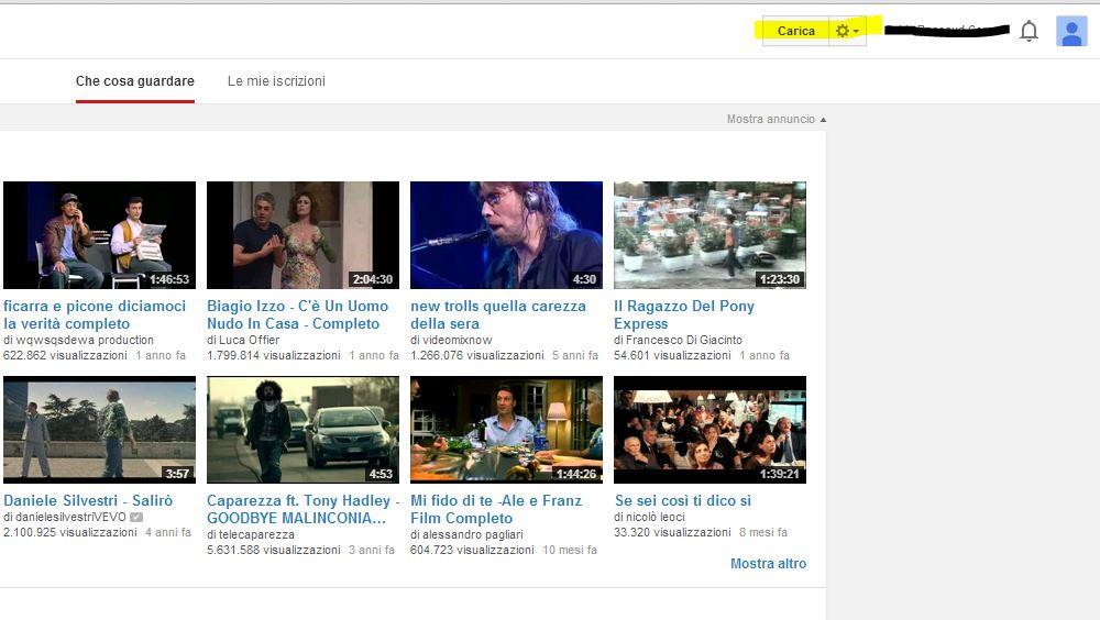Cliccare sul pulsante carica per caricare video su YouTube
