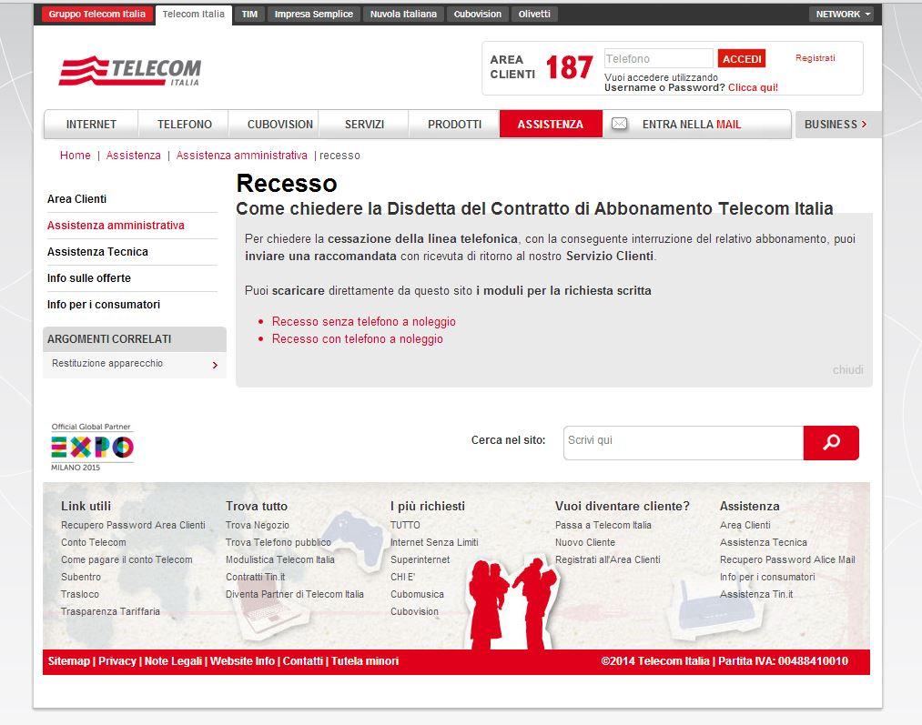 Come recedere da Telecom Italia