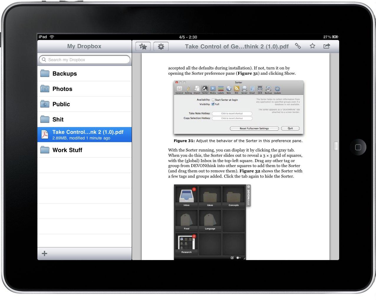 Dropbox schermata opzioni
