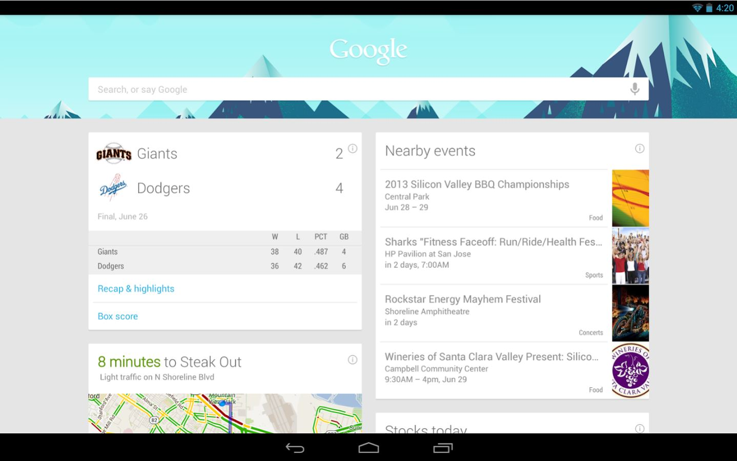 Google Now schermata home