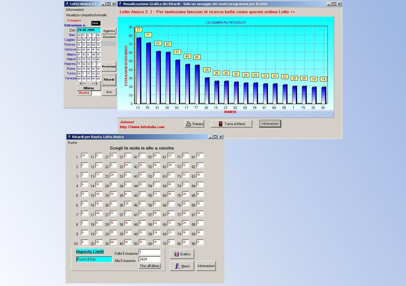 Lotto Amico il programma per Lotto con grafici e statistiche
