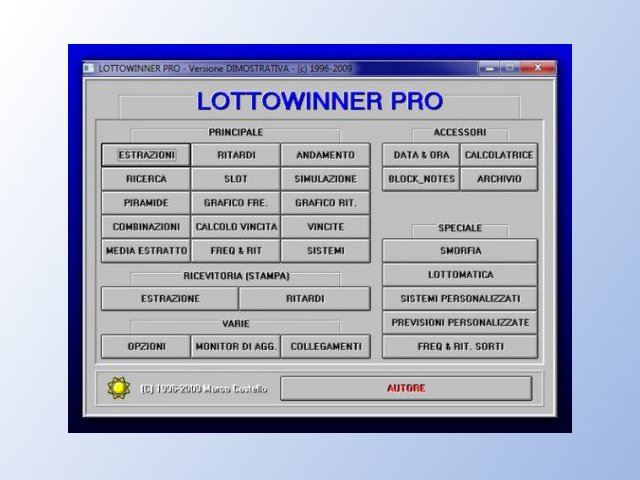 LottoWinner Pro schermata iniziale del programma per Lottoe