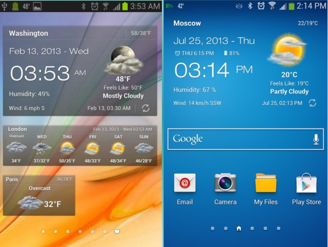 Meteo e Clock Widget