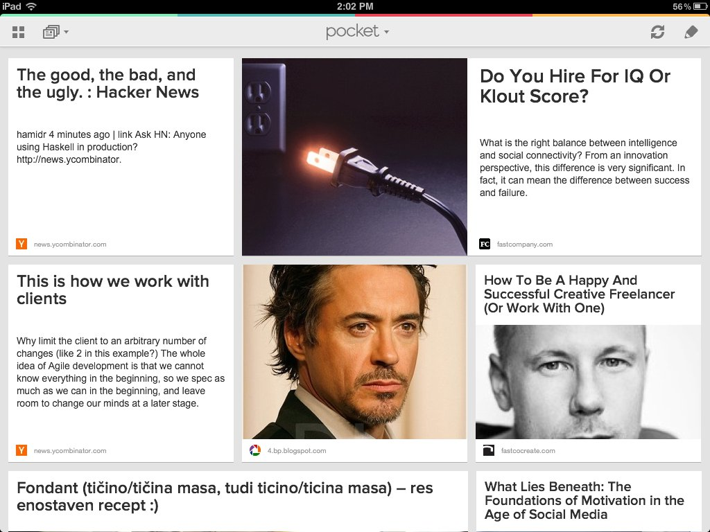 Pocket riquadri articoli