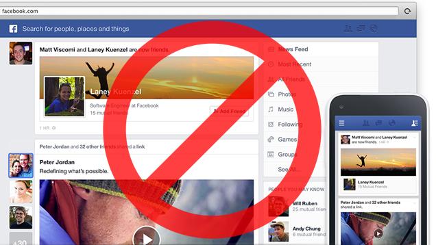 Schermata Facebook con divieto