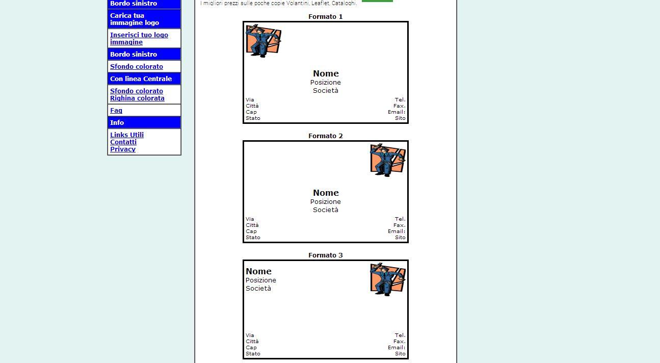 Sito BigliettiDaVisitaGratis esempi di formato