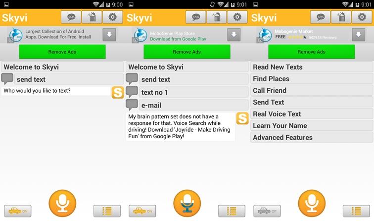 Skyvi, schermata impostazioni