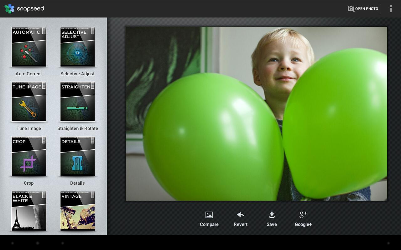 Snapseed bambino e palloncini