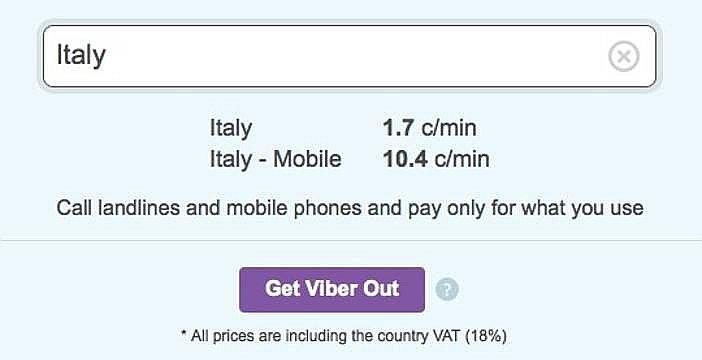 Tariffe Viber Out, schermata