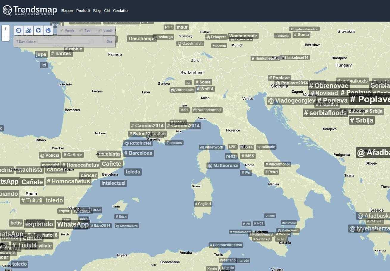 TrendsMap il servizio per vedere la geolocalizzazione degli hashtag per Twitter
