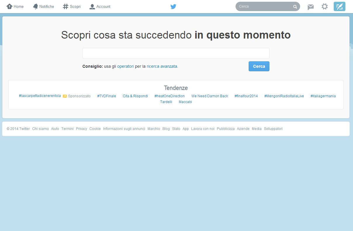 Twitter Search il servizio per la ricerca degli hashtag