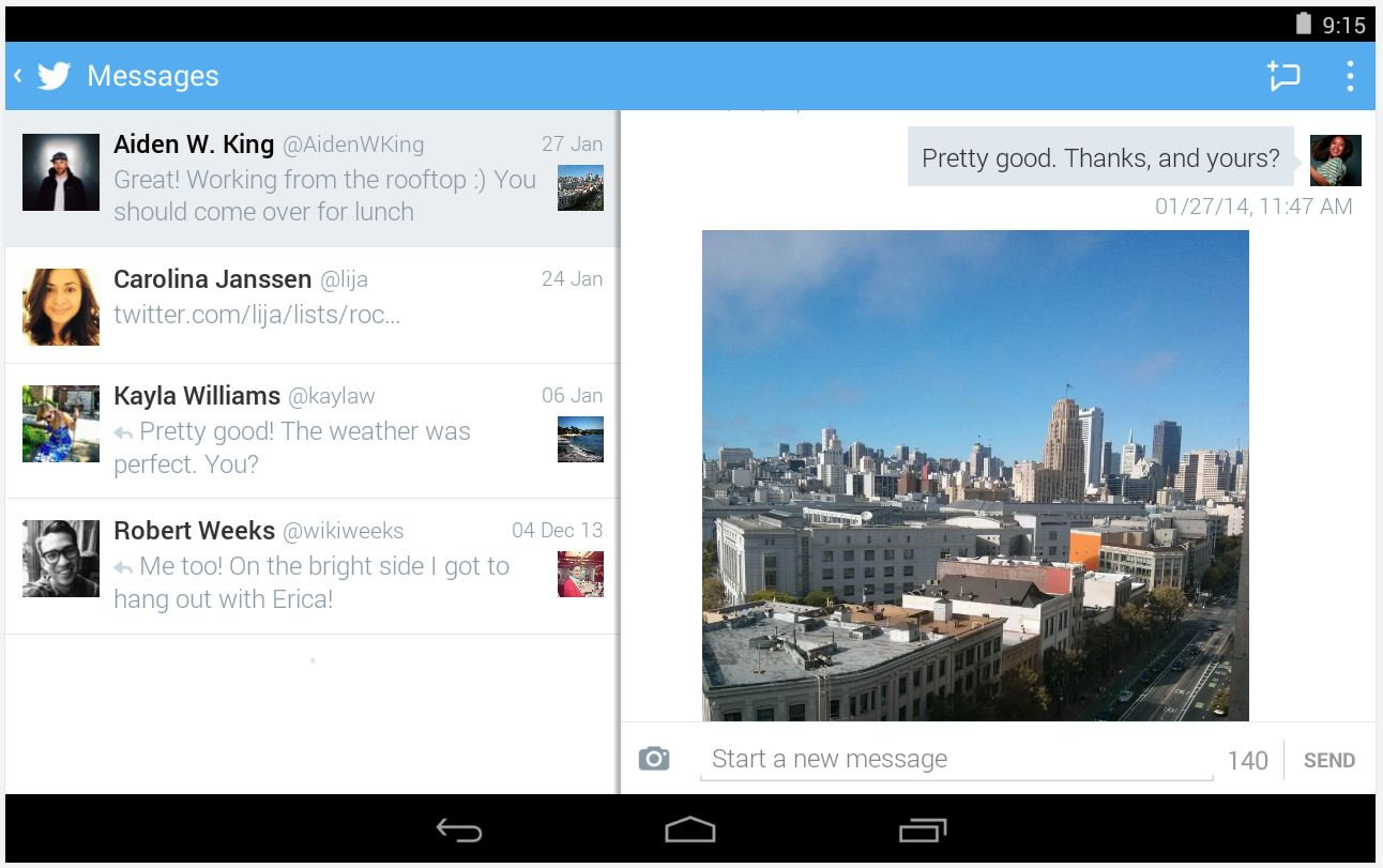 Twitter per Android scaricabile dal Play Store di Google