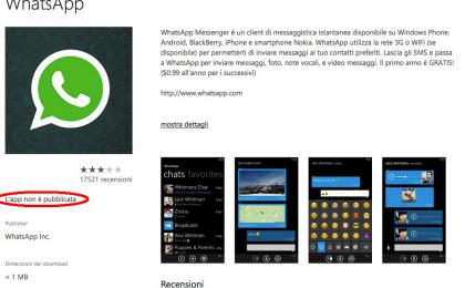 WhatsApp per Windows Phone rimosso dallo store
