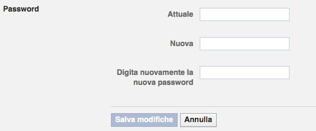 facebook modificare la password