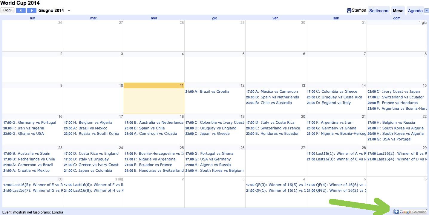 Calendario Mondiali 2014 da importare