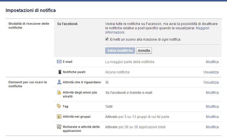 Facebook impostazioni di notifica