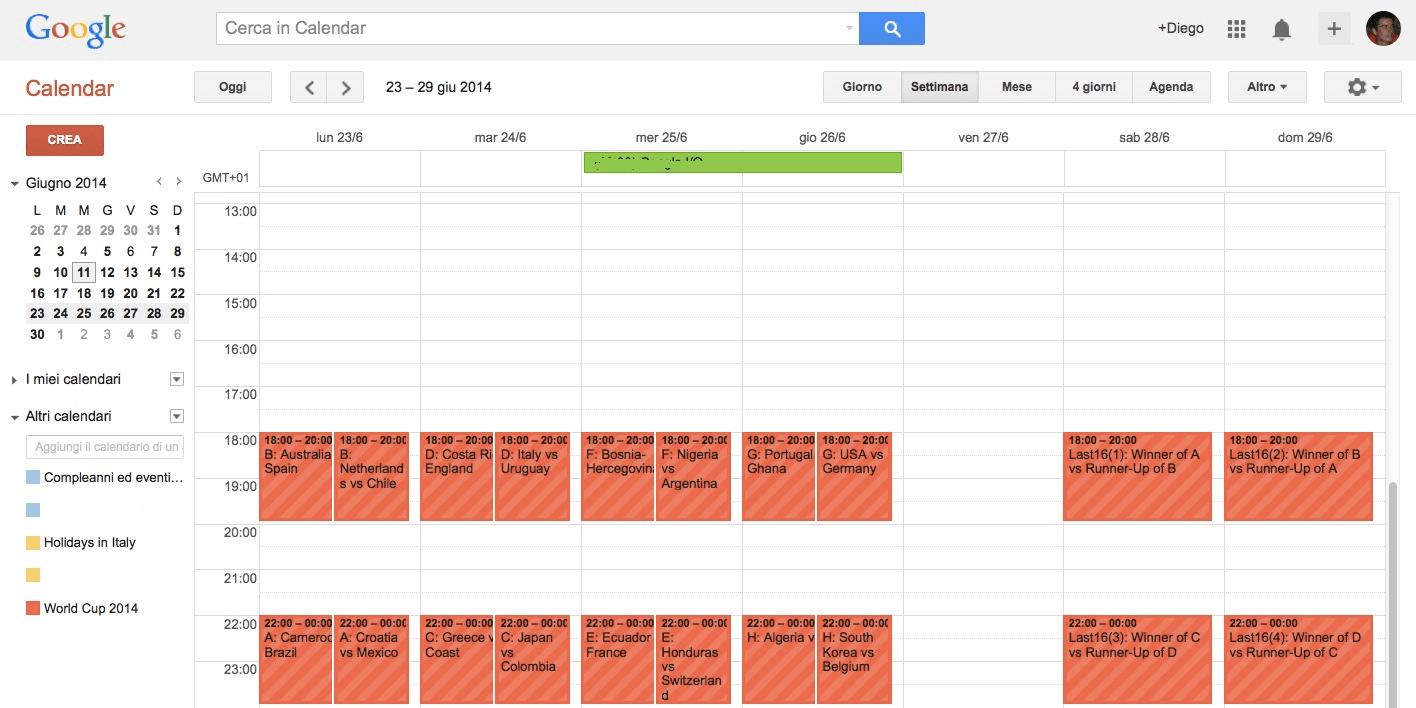 Google Calendar con partite Mondiali