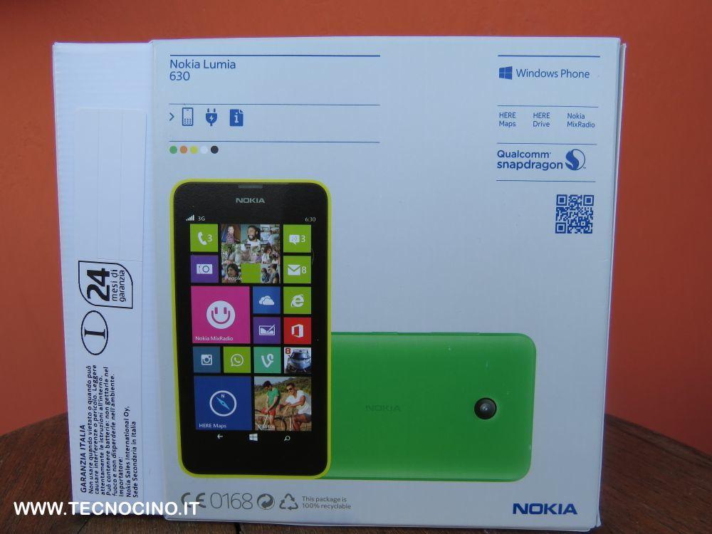 Nokia Lumia 630 specifiche e contenuto