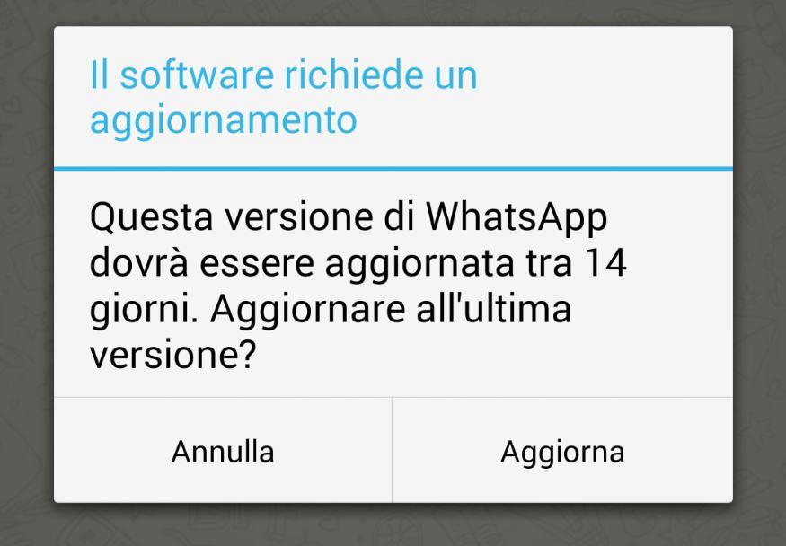 Riquadro aggiornamento Whatsapp