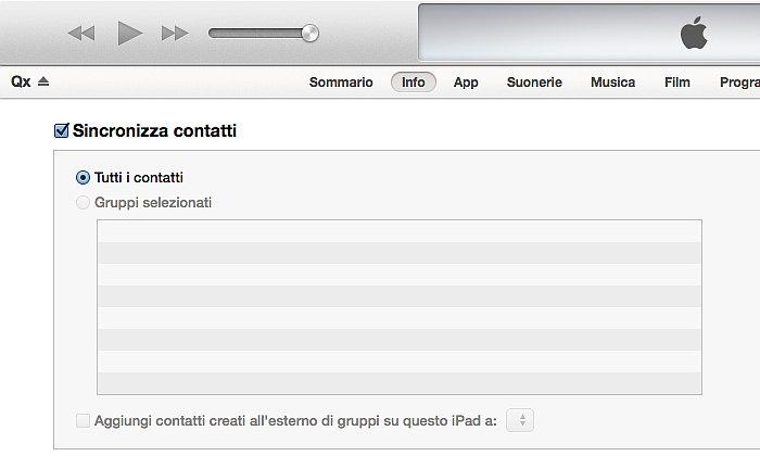 Sincronizzazione iPhone schermata