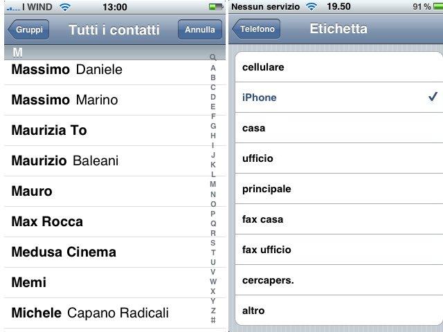 iPhone lista contatti