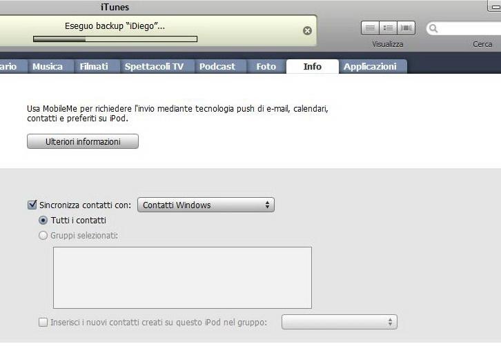 iTunes sincronizzazione rubrica
