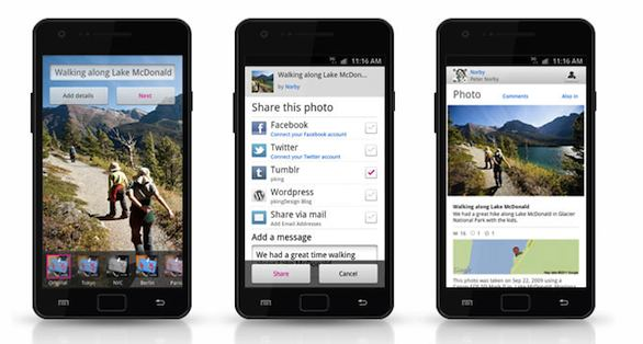 Flickr su tre diversi smartphone Windows Phone
