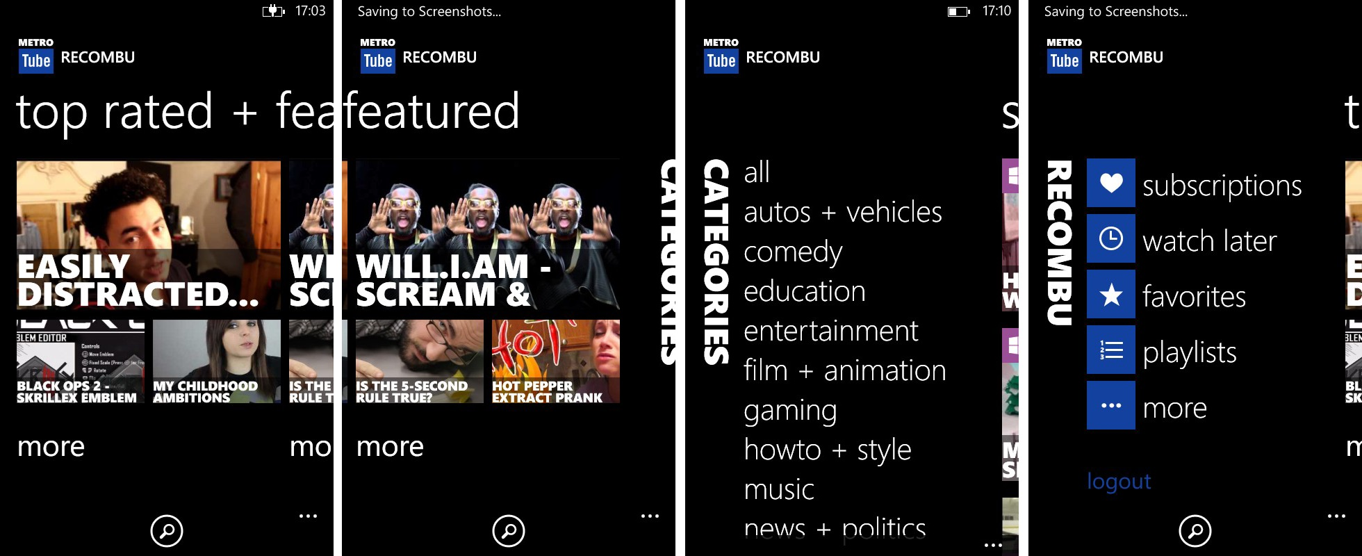Metrotube categorie per Windows Phone