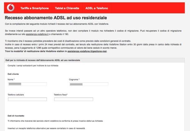 Vodafone disdetta casa adsl