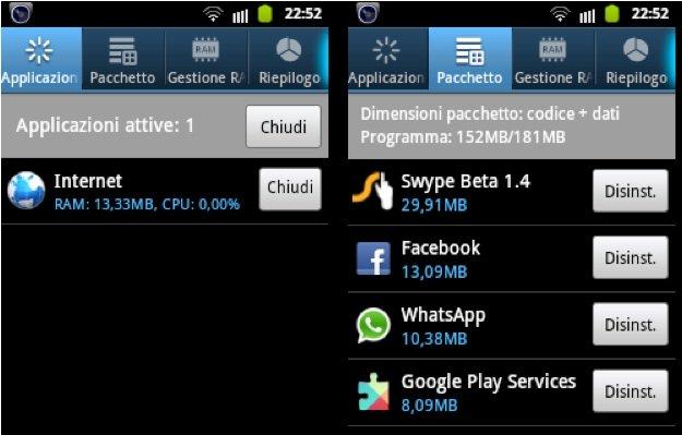 android applicazioni attive