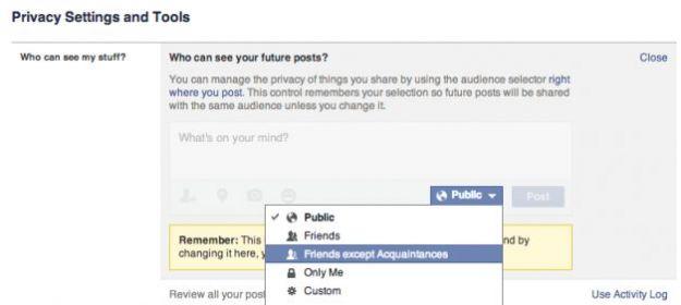 bacheca facebook privata