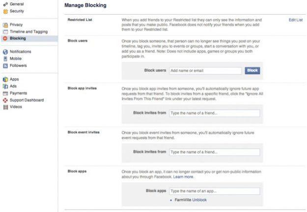 bloccare persone su facebook