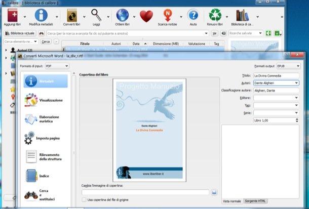 come convertire file pdf in epub calibre
