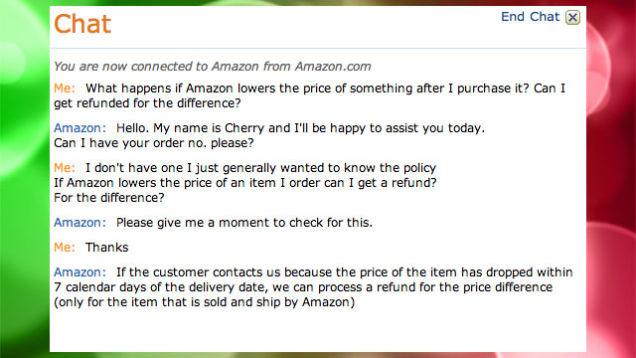 Rimborso in caso di prezzo più basso Amazon