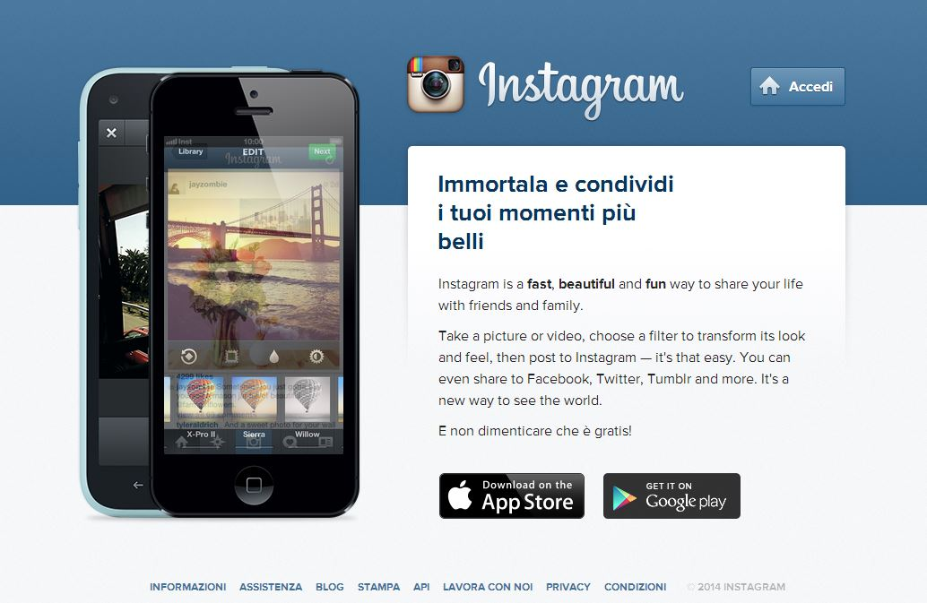 Instagram homepage