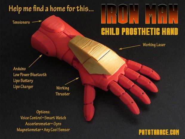 Mano protesi robotica stile Iron Man stampata in 3D [VIDEO]