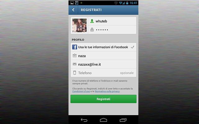 Registrazione Instagram schermata