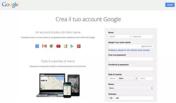 crea il tuo account gmail